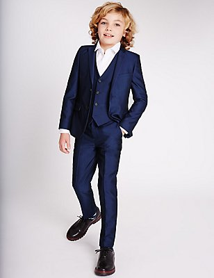 Blue Slim Fit Suit (3-14 Years), , catlanding