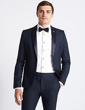 Navy Textured Modern Slim Fit Tuxedo Suit, , catlanding