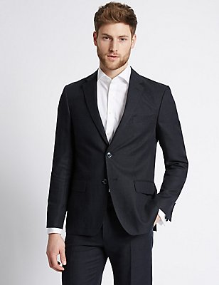 Navy Textured Tailored Fit Suit, , catlanding