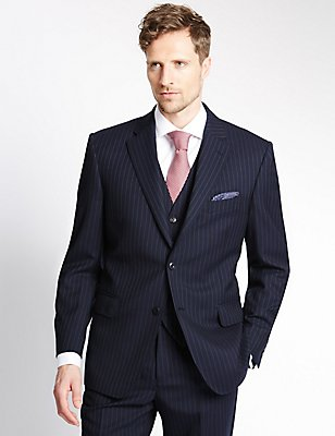 Navy Pinstriped Regular Fit Suit Including Waistcoat, , catlanding