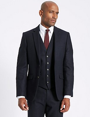 Navy Wool Blend 3 Piece Suit , , catlanding