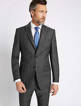 Grey Textured Regular Fit Wool Suit, , catlanding