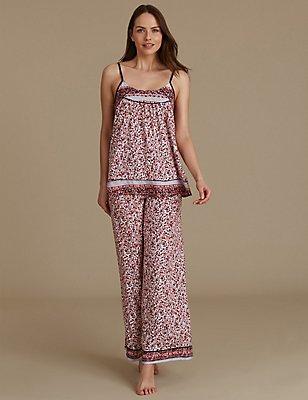 Pyjamasetje met hemdje met bandjes en bloemmotief, , catlanding