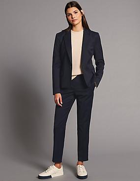 Crop Jacket & Slim Trousers Suit Set, , catlanding