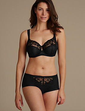 Embroidered Set with Non-Padded Full Cup DD+, , catlanding
