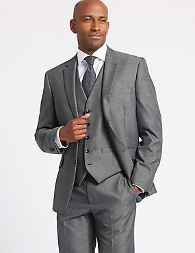 Grey Tailored Fit 3 Piece Suit, , catlanding