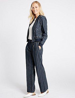 Linen Rich Striped Jacket & Trousers Set, , catlanding