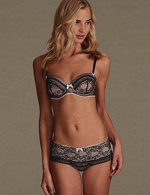 Lucy Lace Set with Padded Balcony A-E, , catlanding