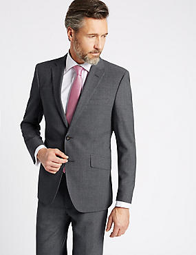 Grey Tailored Fit Wool Travel Suit, , catlanding