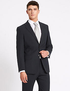 Navy Regular Fit Wool Travel Suit, , catlanding