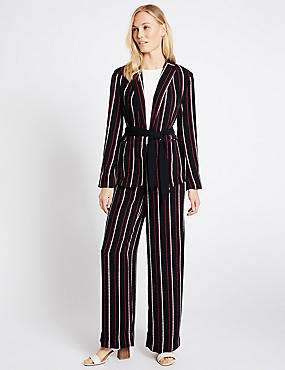 Striped Jacket & Trousers Set, , catlanding