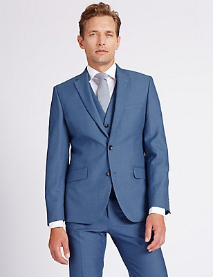 Blue Textured Tailored Fit 3 Piece Suit, , catlanding