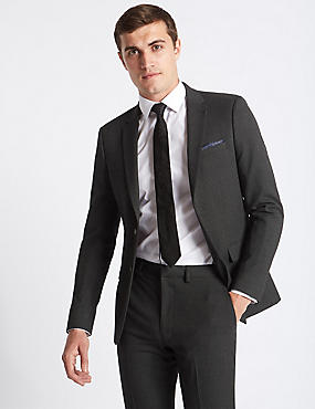 Grey Textured Slim Fit Suit, , catlanding