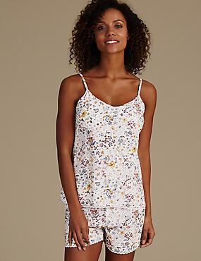 Camisole-Schlafanzug-Set in Kurzform mit Blumendruck, , catlanding