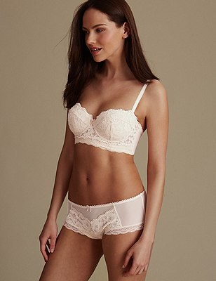Floral Lace with Padded Underwired Balcony A-E, , catlanding