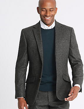 Charcoal Textured Regular Fit Suit, , catlanding