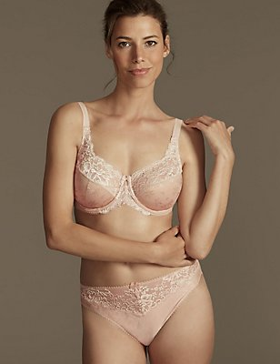 Floral Jacquard & Lace Set with Underwired Full Cup DD-H, , catlanding