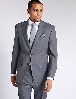 Blue Textured Regular Fit Wool Suit, , catlanding
