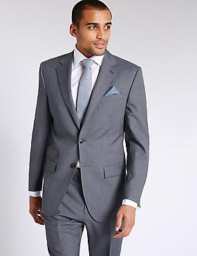 Costume bleu coupe standard en laine texturée, , catlanding