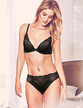 Silk & Lace Set with Padded Beau Plunge A-E, , catlanding