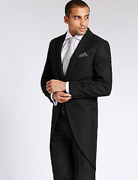 Black Tailored Fit Morning Suit, , catlanding