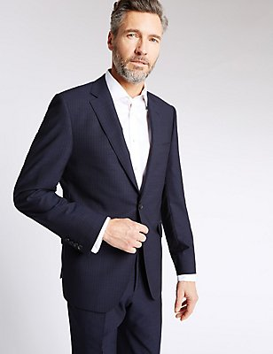 Blue Striped Tailored Fit Suit , , catlanding