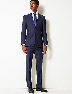 Navy Slim Fit Wool Suit, , catlanding