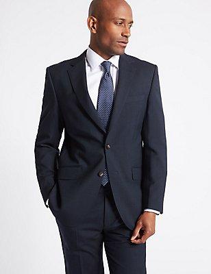 Costume bleu marine coupe standard à rayures, , catlanding