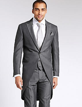 Grey Tailored Morning 3 Piece Suit, , catlanding
