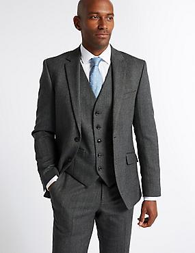 Grey Textured Tailored Fit 3 Piece Suit, , catlanding