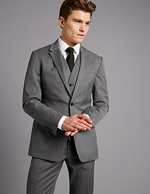 Grey Textured Slim Fit Wool 3 Piece Suit, , catlanding