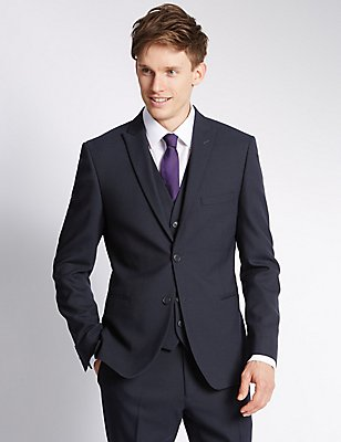 Navy Modern Slim 3 Piece Suit, , catlanding