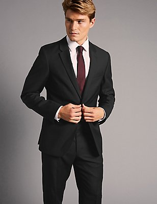 Big & Tall Black Tailored Fit Italian Wool Suit, , catlanding