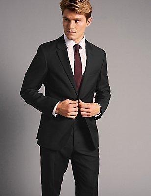 Auf Figur geschnittener schwarzer Anzug aus italienischer Wolle in Übergröße, , catlanding