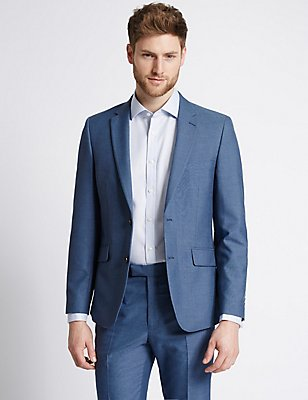 Blue Textured Tailored Fit Suit, , catlanding