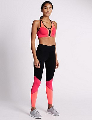 Leggings with Extra High Impact Non-Wired Sports Bra A-G, , catlanding