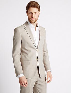 Beigefarbener, strukturierter Anzug in normaler Passform, , catlanding