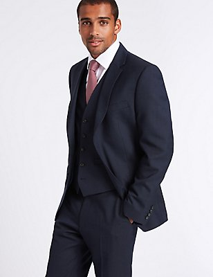 Navy Striped Tailored Fit 3 Piece Suit, , catlanding