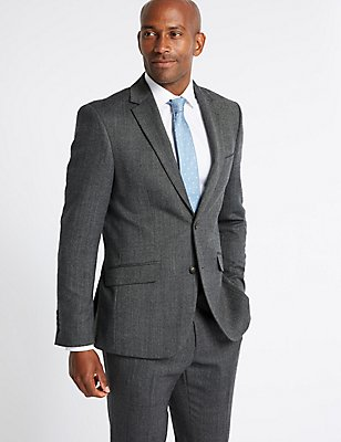 Grey Textured Tailored Fit Suit, , catlanding