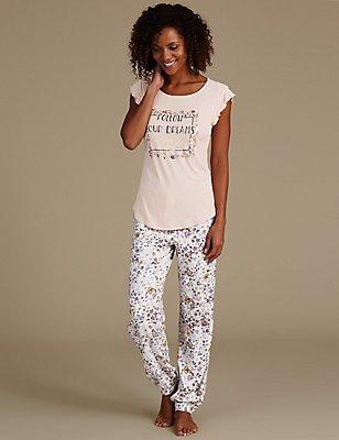 Floral Print Cap Sleeve Pyjama Set, , catlanding