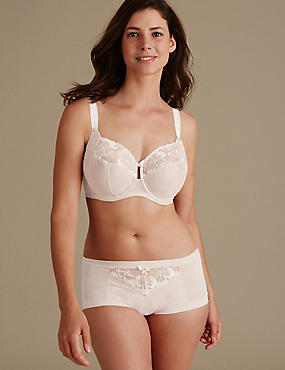 Floral Embroidered Set with Non-Padded Full Cup DD-H, , catlanding