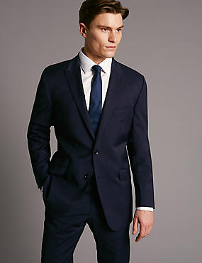 Navy Tailored Fit Wool Rich with Lycra Suit, , catlanding