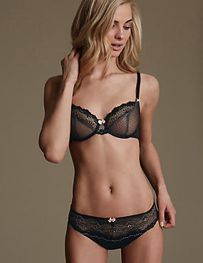 Lace Set with Underwired Non-Padded Balcony A-DD, , catlanding