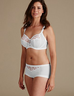 Floral Embroidered Set with Non Padded Full Cup DD-H, , catlanding