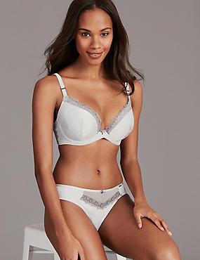 Satin & Lace Set with Padded Plunge Bra A-E , , catlanding