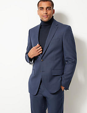 Indigo Textured Regular Fit Suit, , catlanding