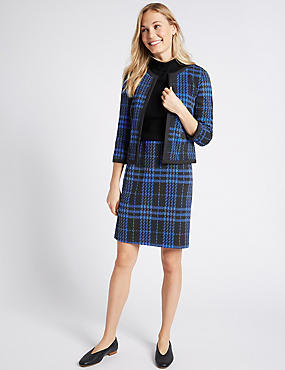 Checked Jacket & Skirt Set, , catlanding