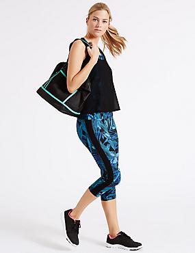 Set van korte legging en hemdje met tropische print, , catlanding
