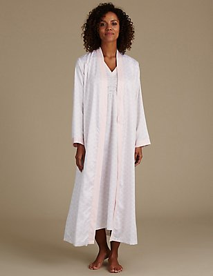 Satin Printed Dressing Gown & Nightdress Set, , catlanding