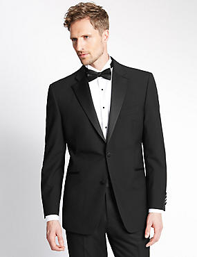 Black Regular Fit Wool Tuxedo Suit, , catlanding
